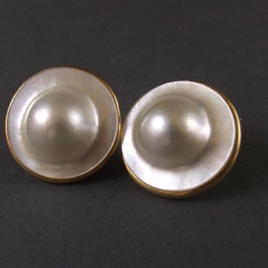 Pair Of Blister Pearl Earrings