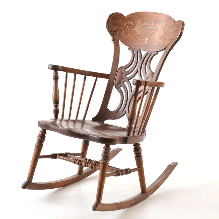 Antique Rocking Chair With Inlaid Crest Rail