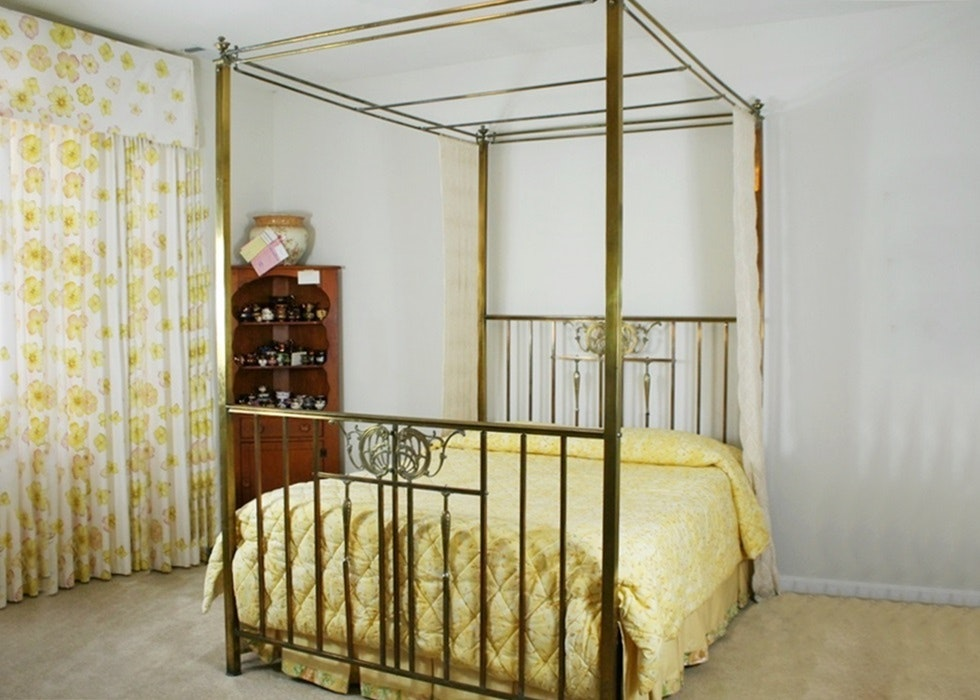 Antique Four Poster Canopy Brass Bed ...