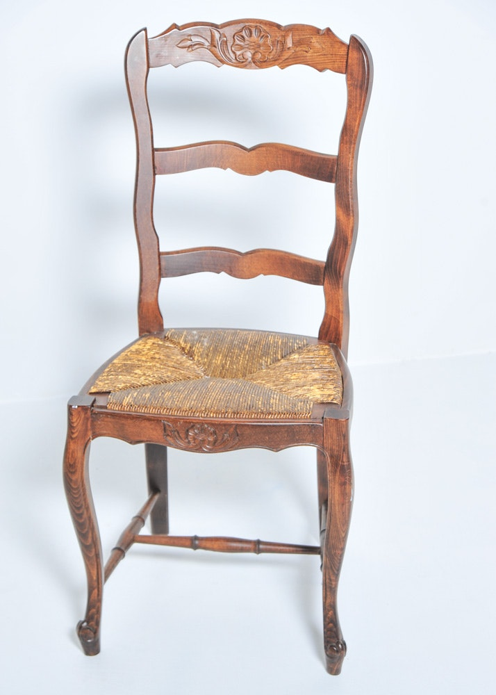 Wooden Ladder Back Chair With Rush Seat Ebth