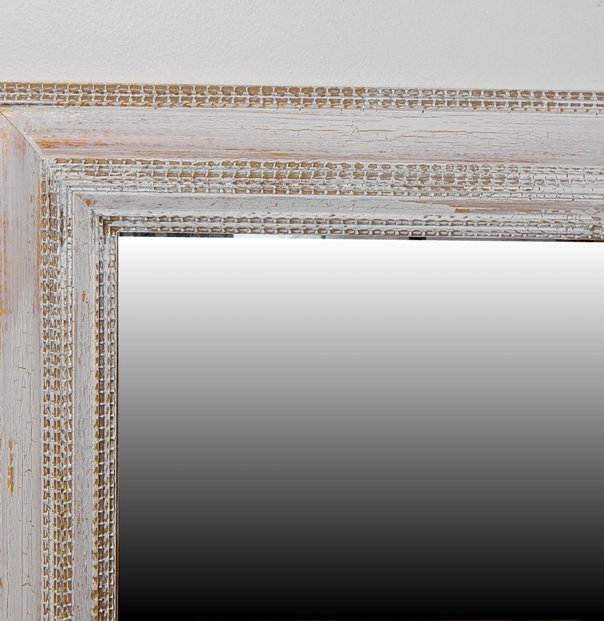 White washed and gold leaf shabby chic framed mirror ebth for White and gold mirror