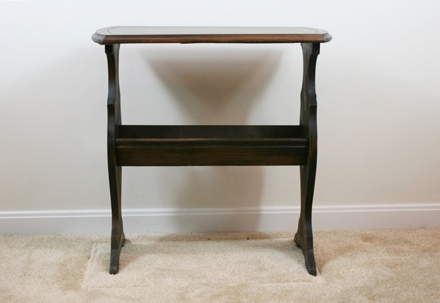 Vintage End Table With Angled Book Storage ...