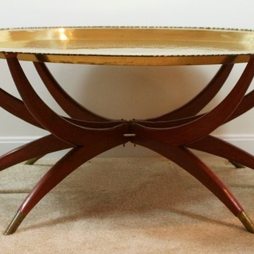 Mid Century Modern Tail Table Base With Engraved Br Tray