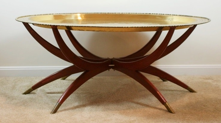 Mid Century Modern Cocktail Table Base With Engraved Brass Tray ...