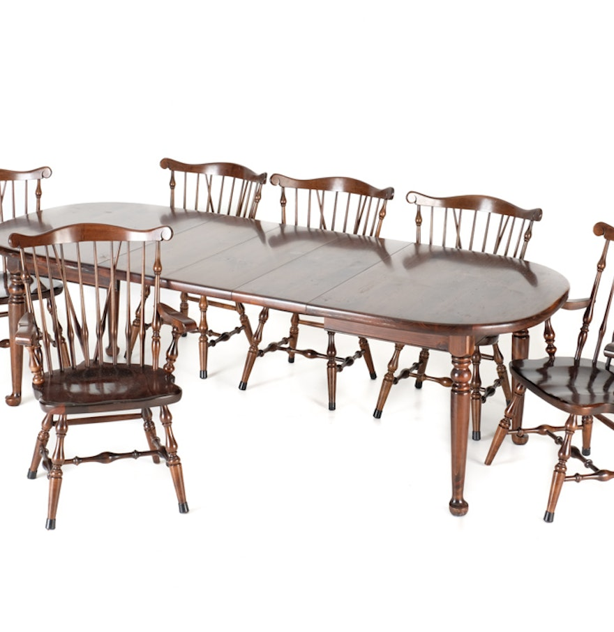 Ethan allen pine dining table and six windsor chairs ebth - Dining table and six chairs ...