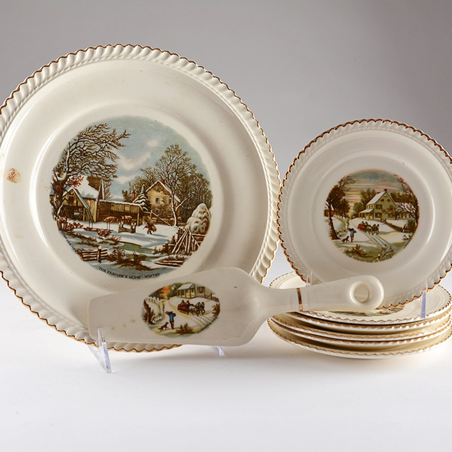Harkerware Currier and Ives Cake Set : EBTH