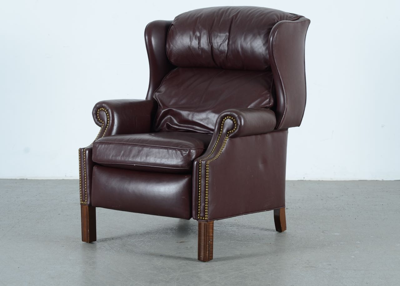 hancock and moore wingback leather recliner