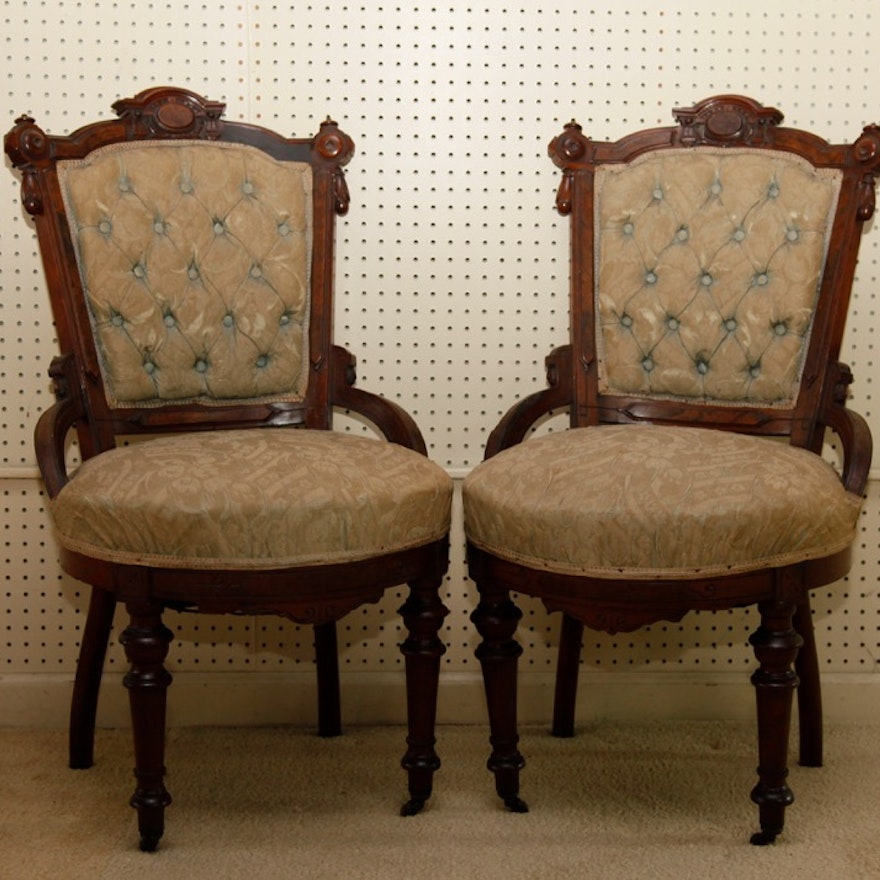 Pair Of Antique Victorian Eastlake Chairs Ebth