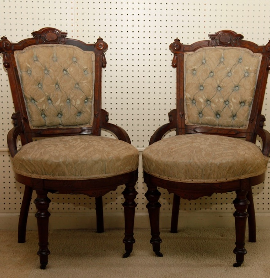 Antique victorian chairs - Pair Of Antique Victorian Eastlake Chairs