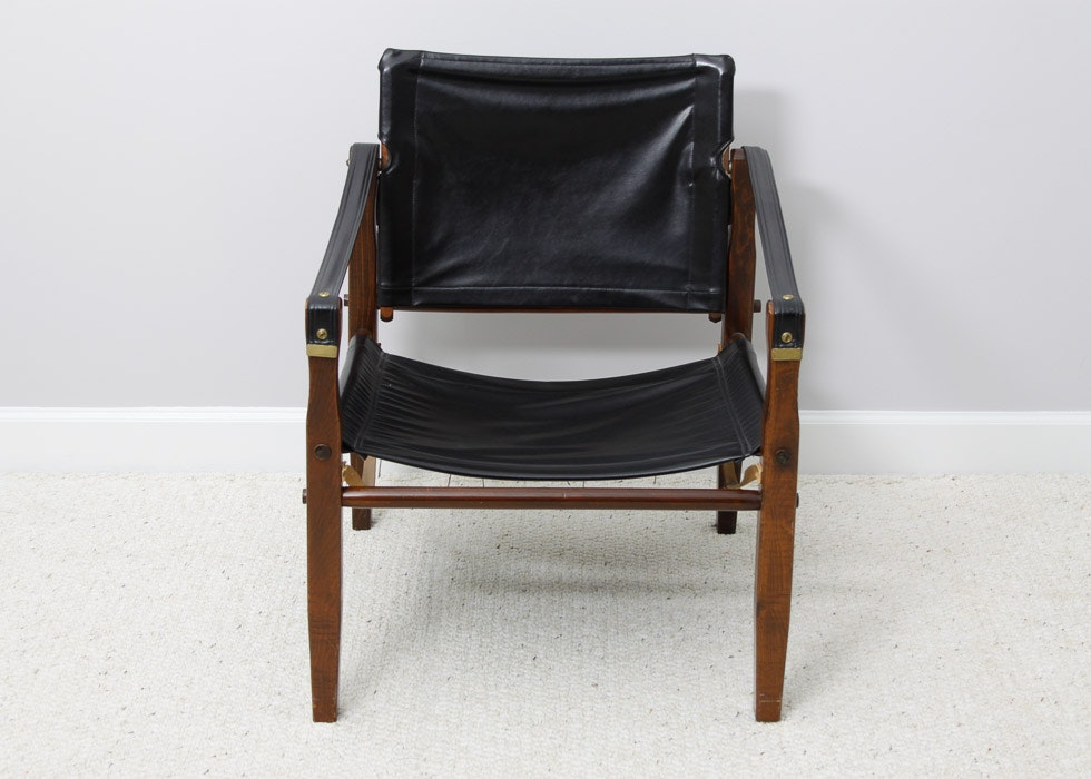 wood framed leather sling chair