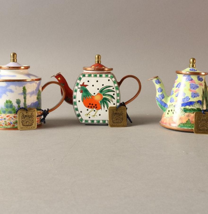 charlotte di vita hand painted cloissone teapot trio ebth. Black Bedroom Furniture Sets. Home Design Ideas
