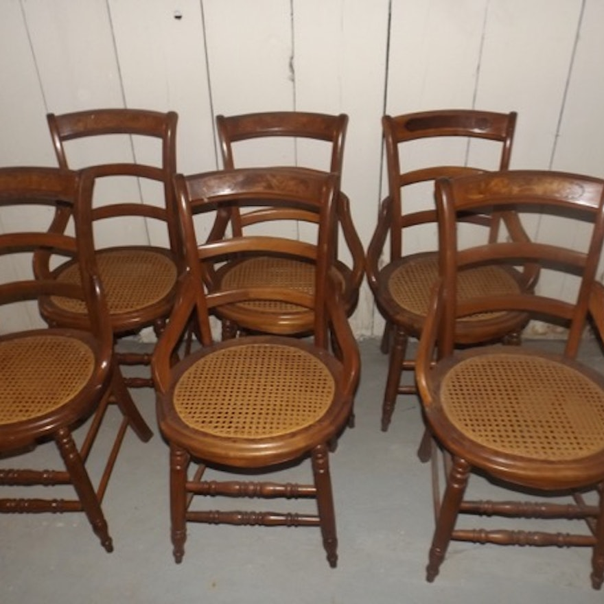Set Of Six Victorian Caned Bottom Dining Chairs Ebth