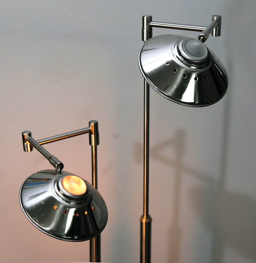 Silver tone floor lamp ebth for Silver tone floor lamp