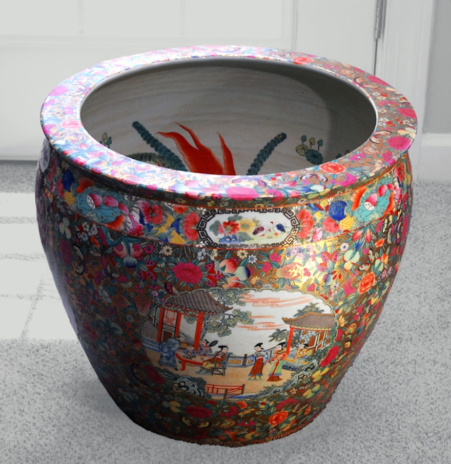 Chinese fish bowl planter ebth for Chinese fish bowl planter