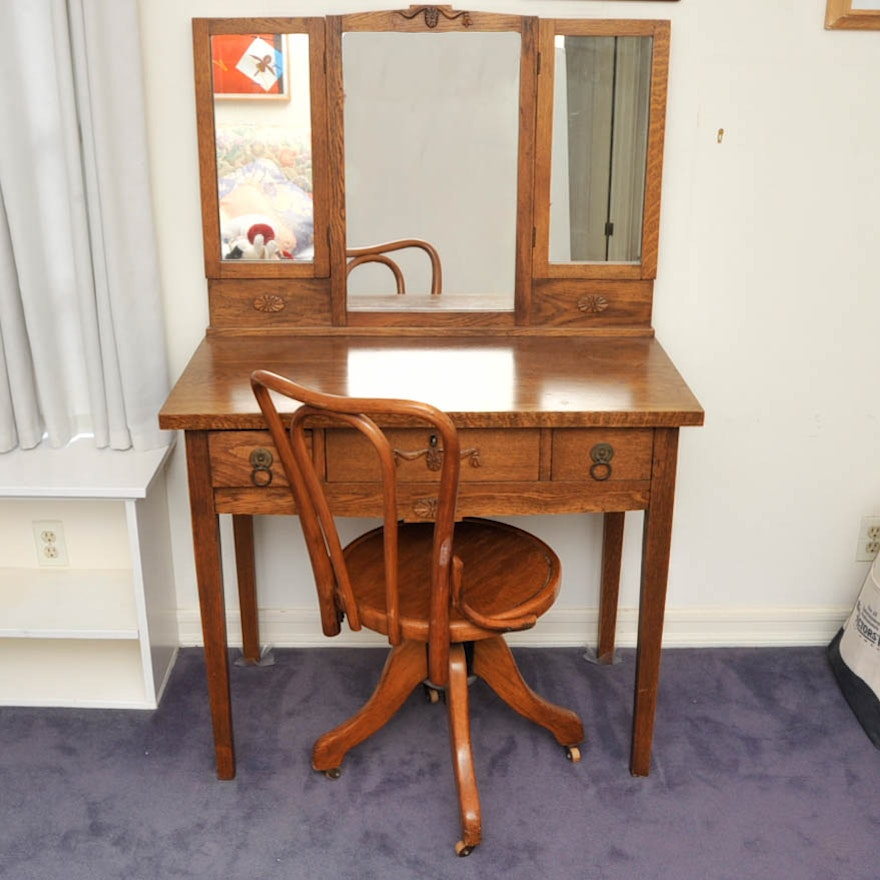 Antique Oak Vanity With Mirror And Chair