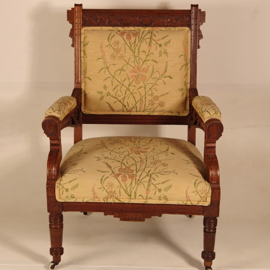 Antique Eastlake Chair with Leaf Carving to Back ... - Antique Eastlake Chair With Leaf Carving To Back : EBTH