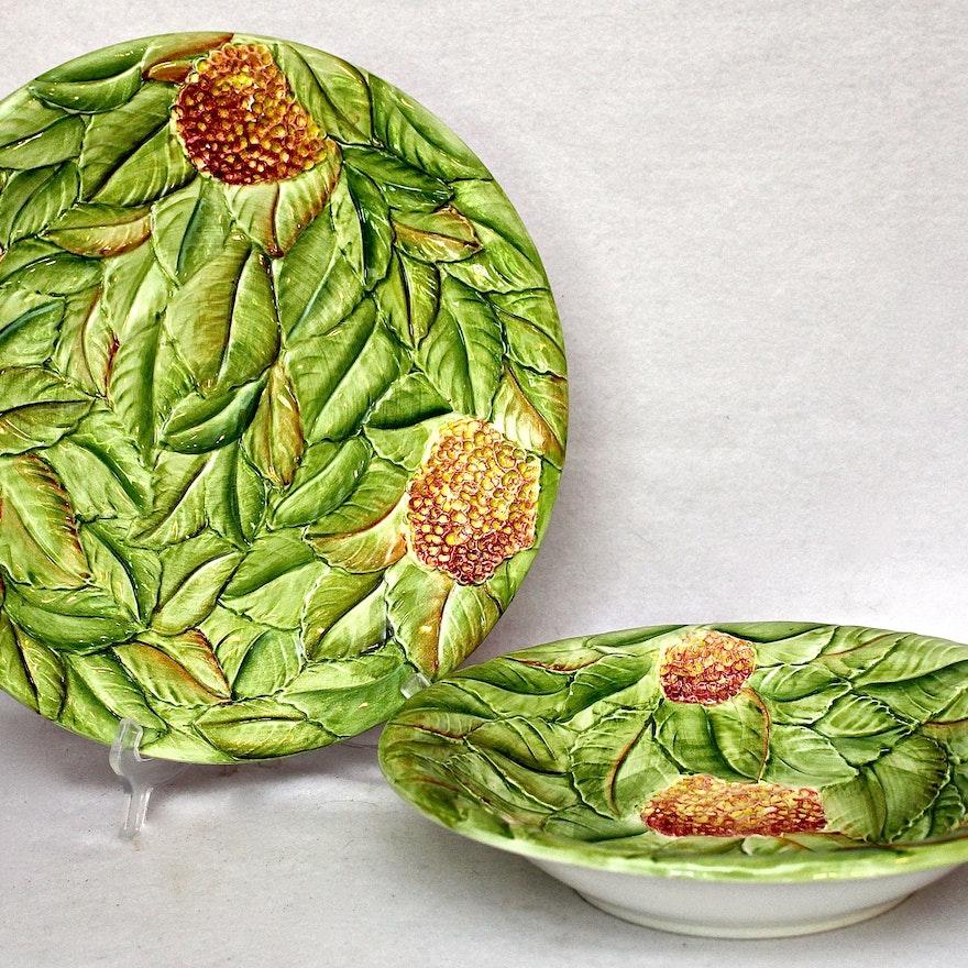 San Marco Pottery Bowl and Platter Set : EBTH