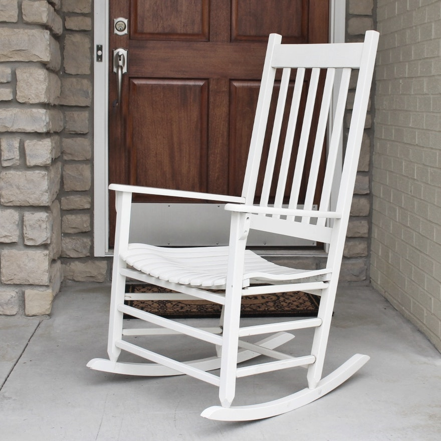 New River Casual Furniture White Wood Rocking Chair