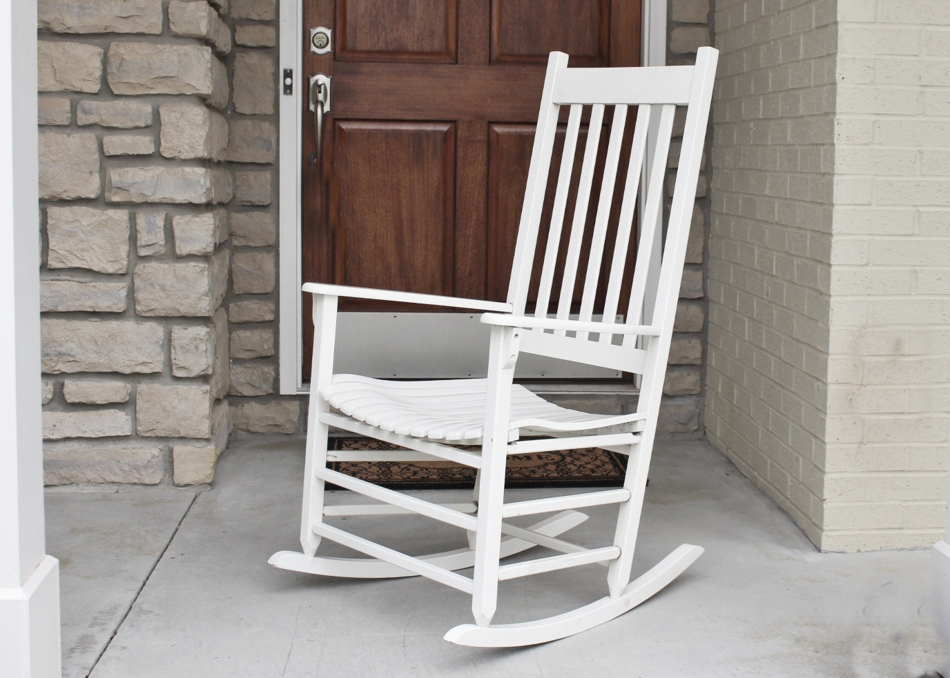 New River Casual Furniture White Wood Rocking Chair ...