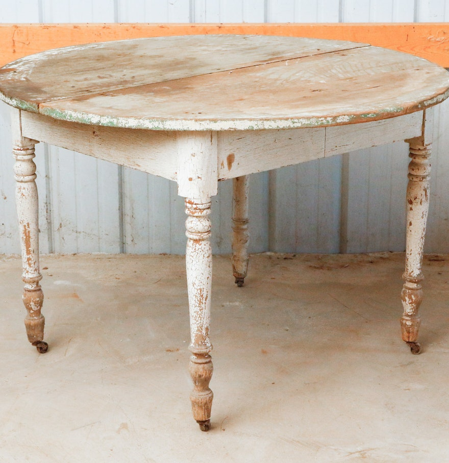 Round Primitive Dining Table on Casters : EBTH