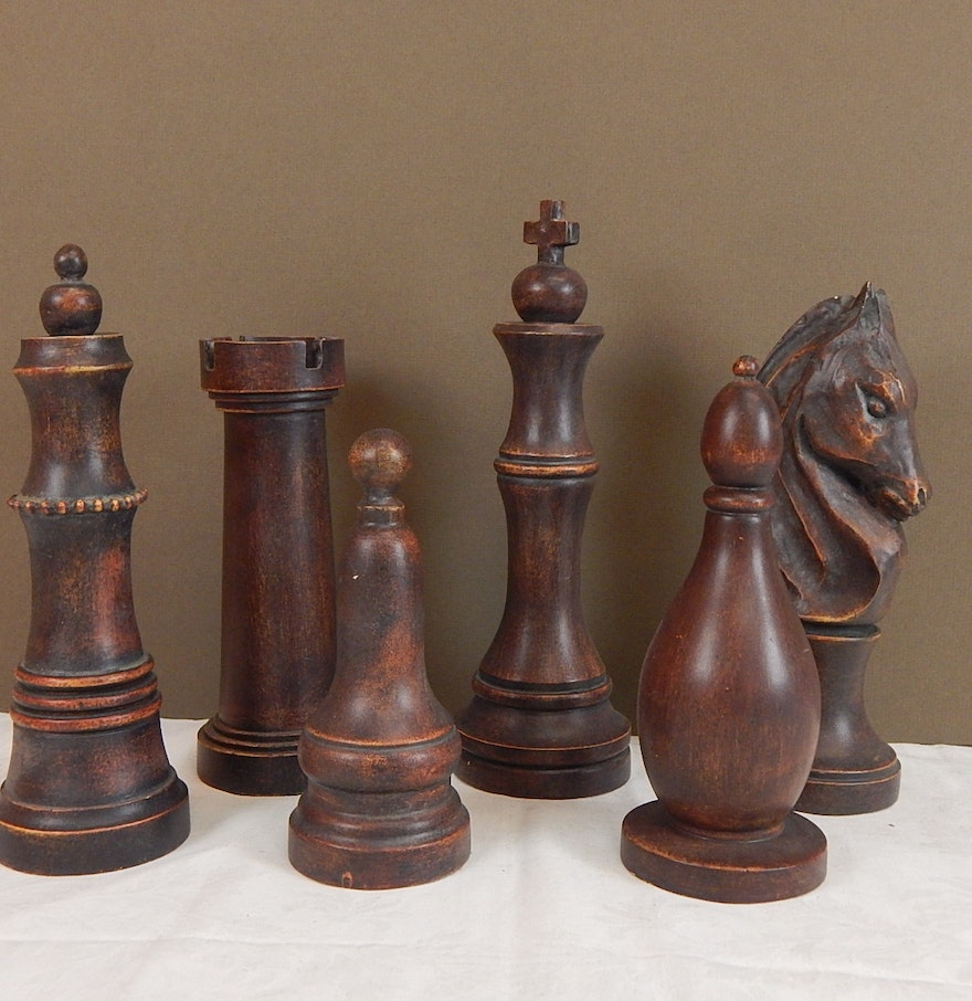 Six piece decorative chess set pieces ebth - Ornate chess sets ...