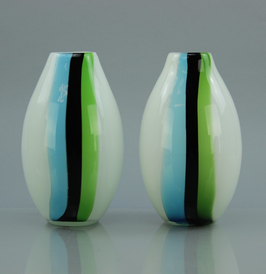 Modern Glass Vases Pair Of Midcentury Modern Handblown Glass Vases Ebth