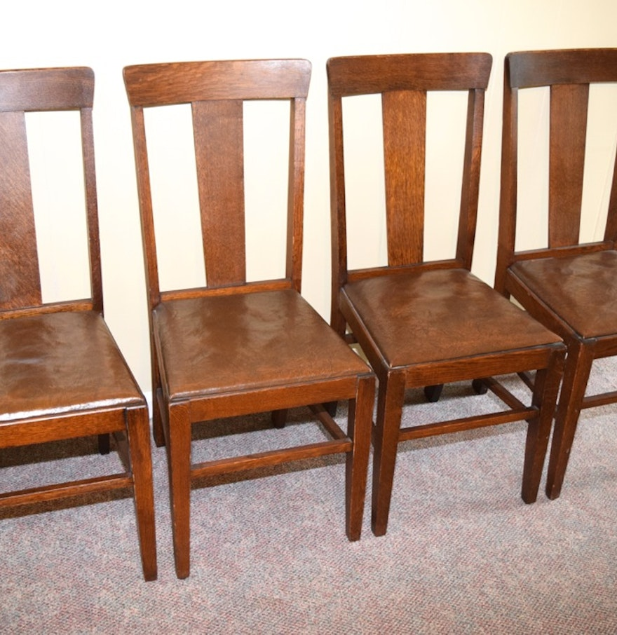 Four Antique Oak and Leather Side Chairs by Marietta Chair Co. - Four Antique Oak And Leather Side Chairs By Marietta Chair Co. : EBTH