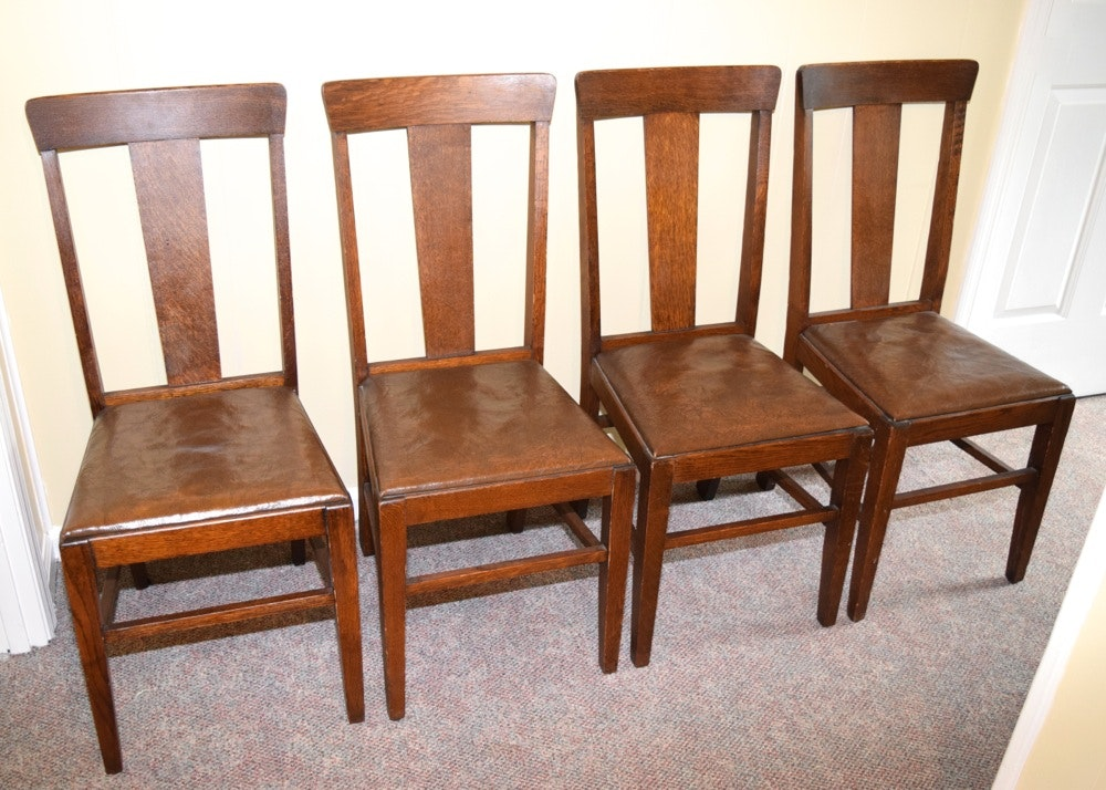 Four Antique Oak And Leather Side Chairs By Marietta Chair Co.