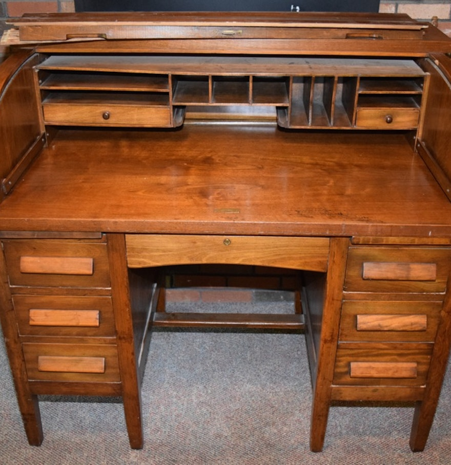 Mahogany Antique Roll Top Desk ... - Mahogany Antique Roll Top Desk : EBTH