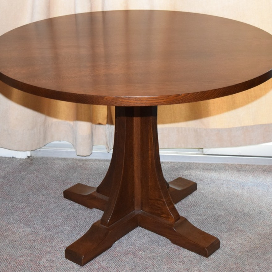 dining pedestal pottery c oak lorraine table barn image roll to zoom over products hewn