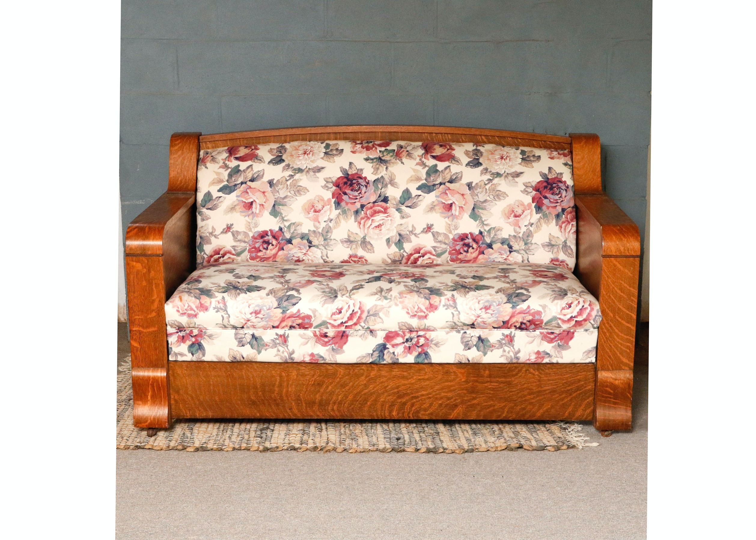 Kroehler Mfg. Co. Antique Quarter-Sawn Oak Sofa Bed