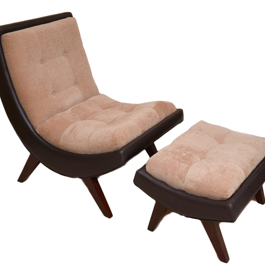 Najarian Furniture Modern Chair And Ottoman Ebth