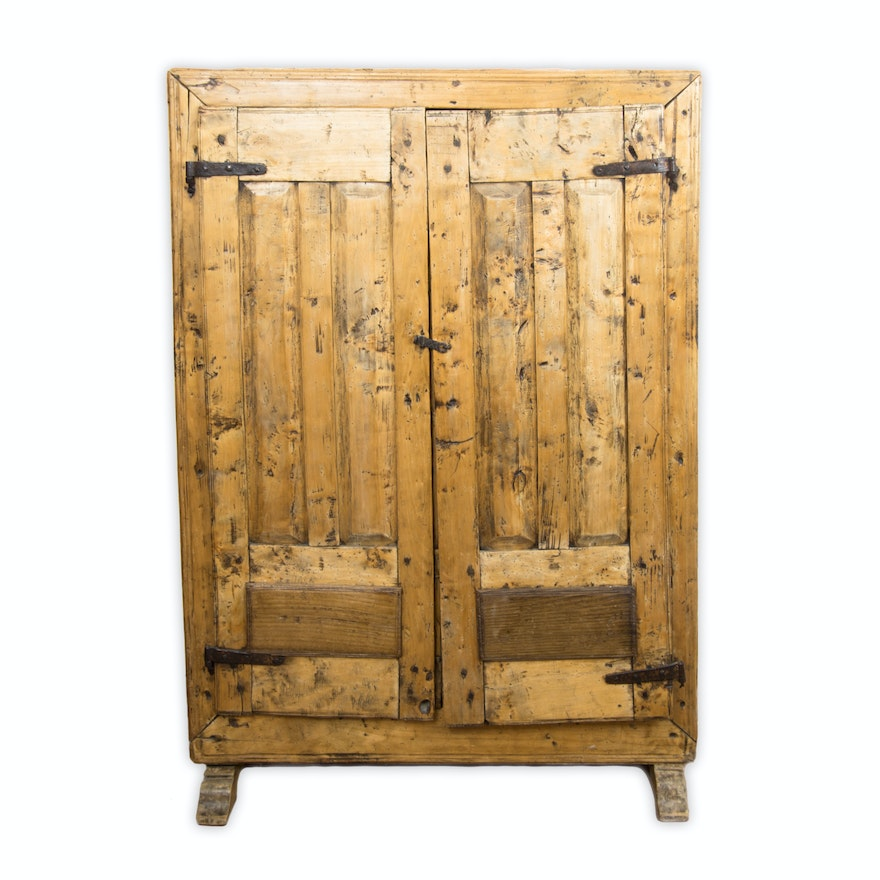 Antique Farmhouse Rustic Wood Pantry Cabinet ... - Antique Farmhouse Rustic Wood Pantry Cabinet : EBTH