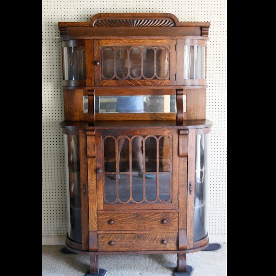 Antique Quarter Sawn Oak China Cabinet ... - Antique Quarter Sawn Oak China Cabinet : EBTH