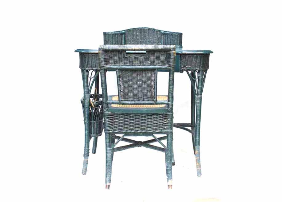 Circa 1920s HeywoodWakefield Wicker Desk and Chair EBTH