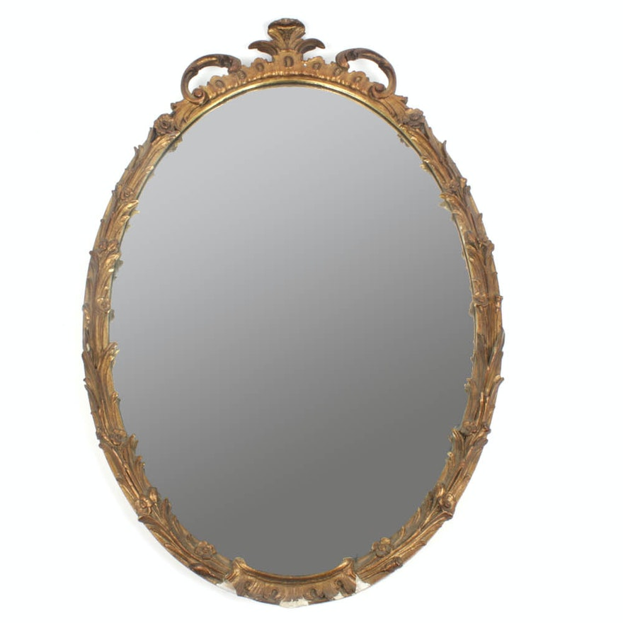 Vintage Oval Wall Mirror in Ornate Gold Tone Frame : EBTH