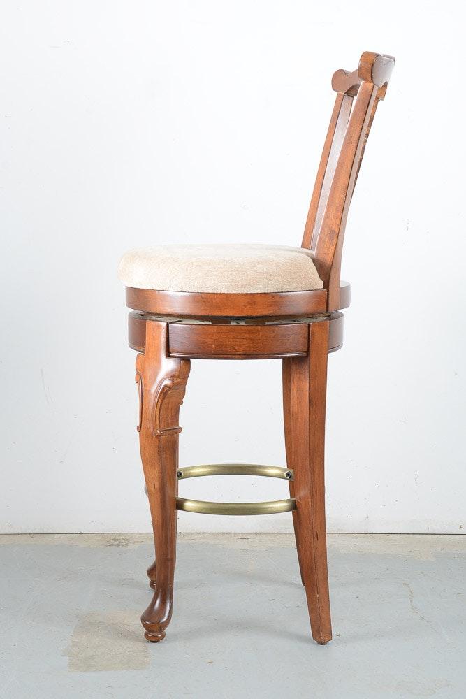 five wooden high back bar stools ebth. Black Bedroom Furniture Sets. Home Design Ideas