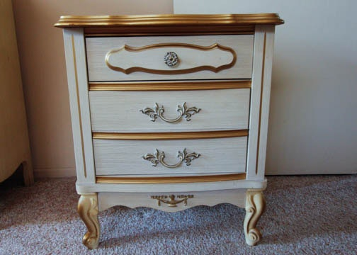 Cream Colored French Provincial Style Nightstand