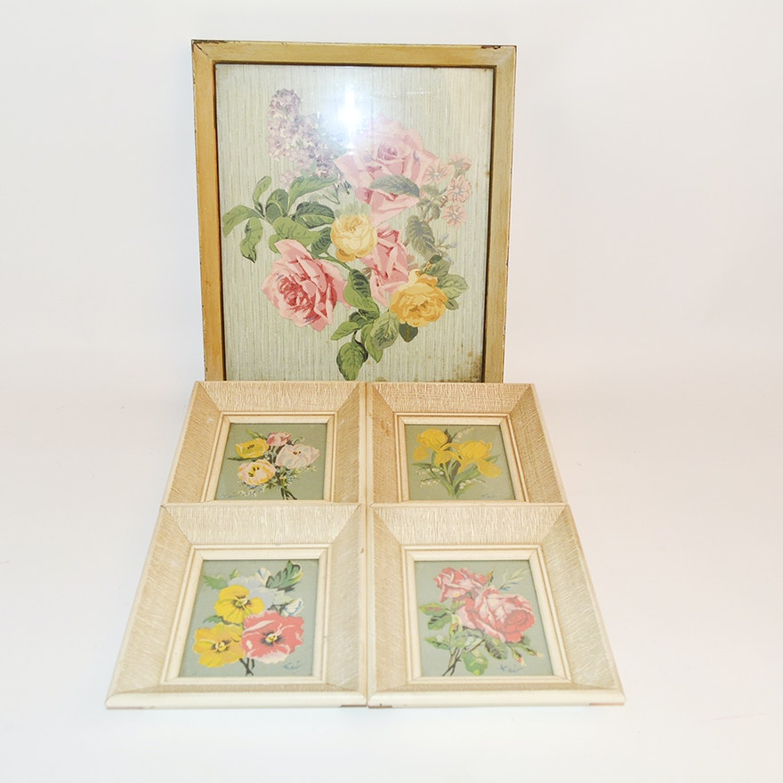 small framed floral prints signed kai ebth