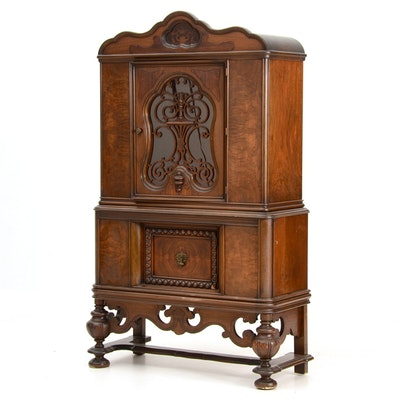 Walnut China Cabinet - Online Furniture Auctions Vintage Furniture Auction Antique