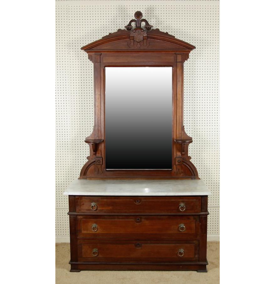 Victorian Walnut Dresser with Mirror : EBTH