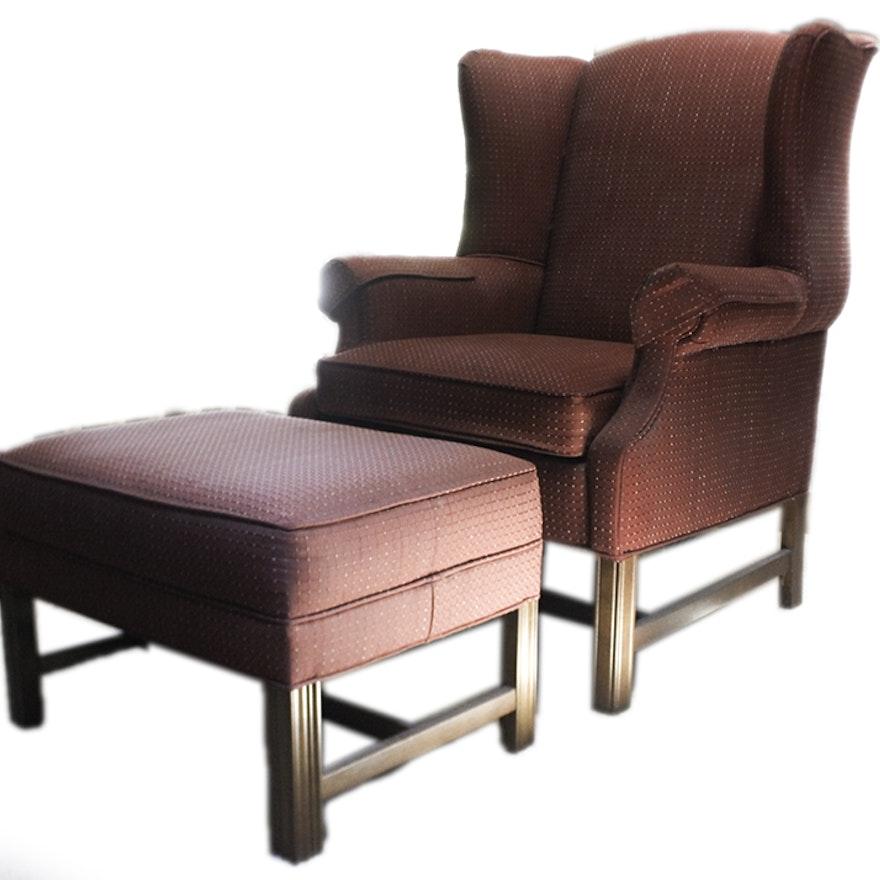 ethan allen wingback chair and ottoman ebth