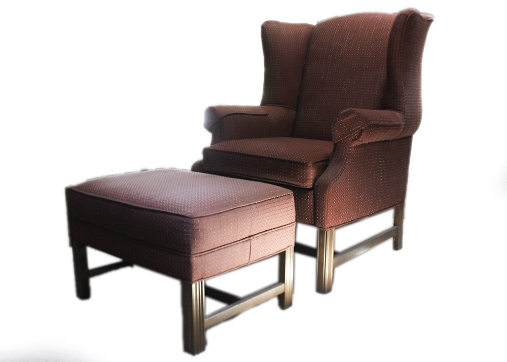 Ethan Allen Wingback Chair And Ottoman ...