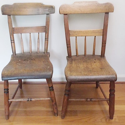 Pair of Early American Primitive Chairs - Online Furniture Auctions Vintage Furniture Auction Antique
