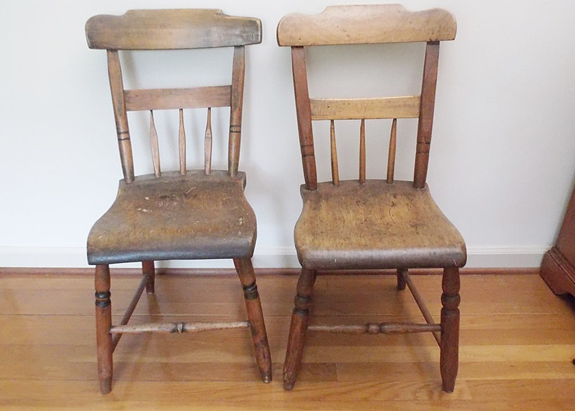 Pair Of Early American Primitive Chairs ...