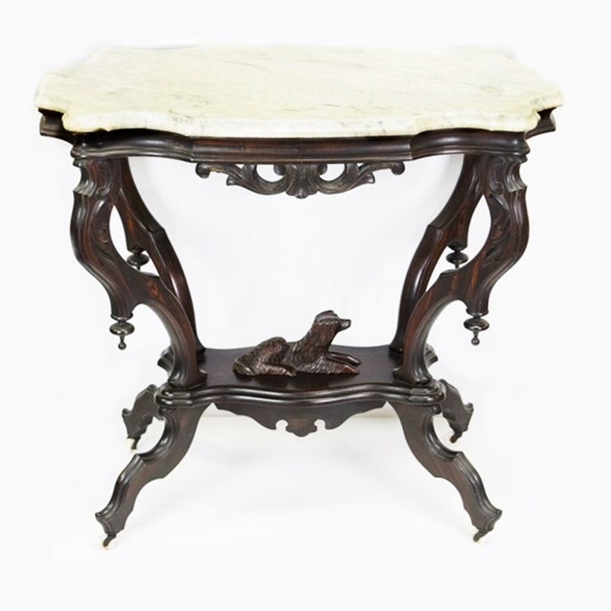 Victorian Marble Coffee Table: Victorian Rosewood Parlor Table With Carved Dog And Marble