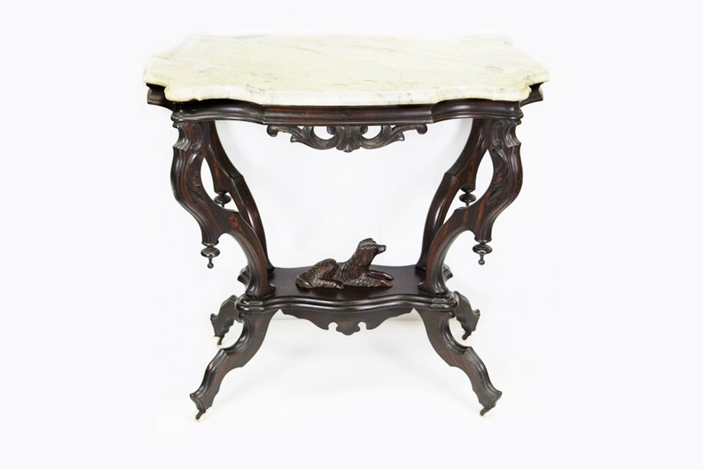 Victorian Rosewood Parlor Table With Carved Dog And Marble Top ...