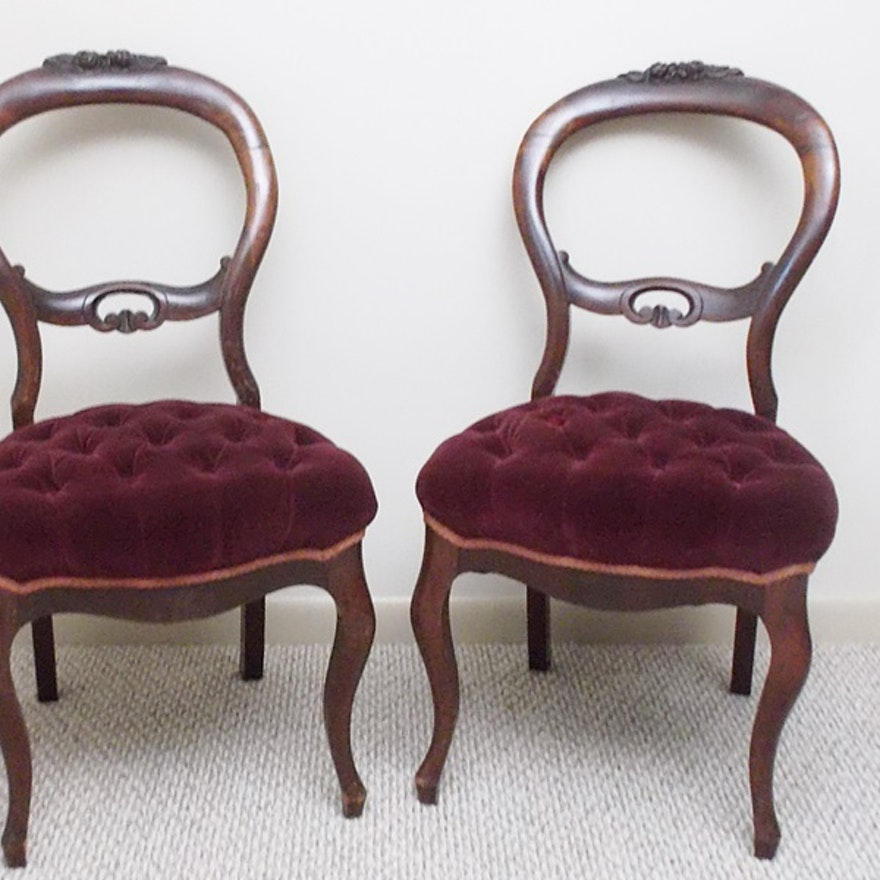 Pair Of Tufted Seat Victorian Balloon Back Chairs