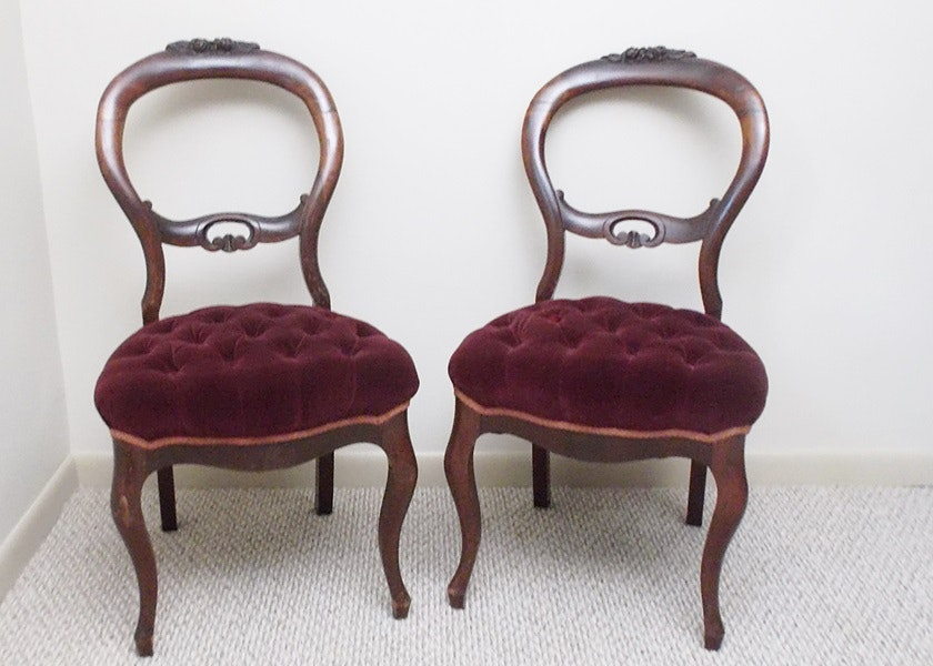 Pair Of Tufted Seat Victorian Balloon Back Chairs ...