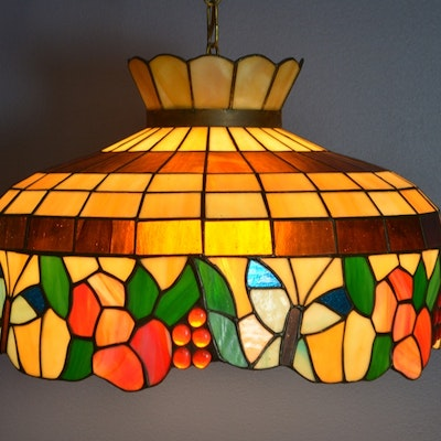 Tiffany Style Stained Glass Fruit Pendant - Antique Floor Lamps, Table Lamps And Light Fixtures Auction : EBTH